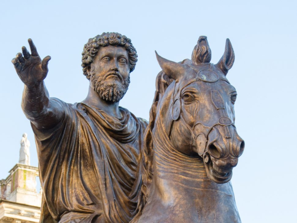 Stoic Leader statue of the emperor Marco Aurelio at the Capitoline Hill in Rome