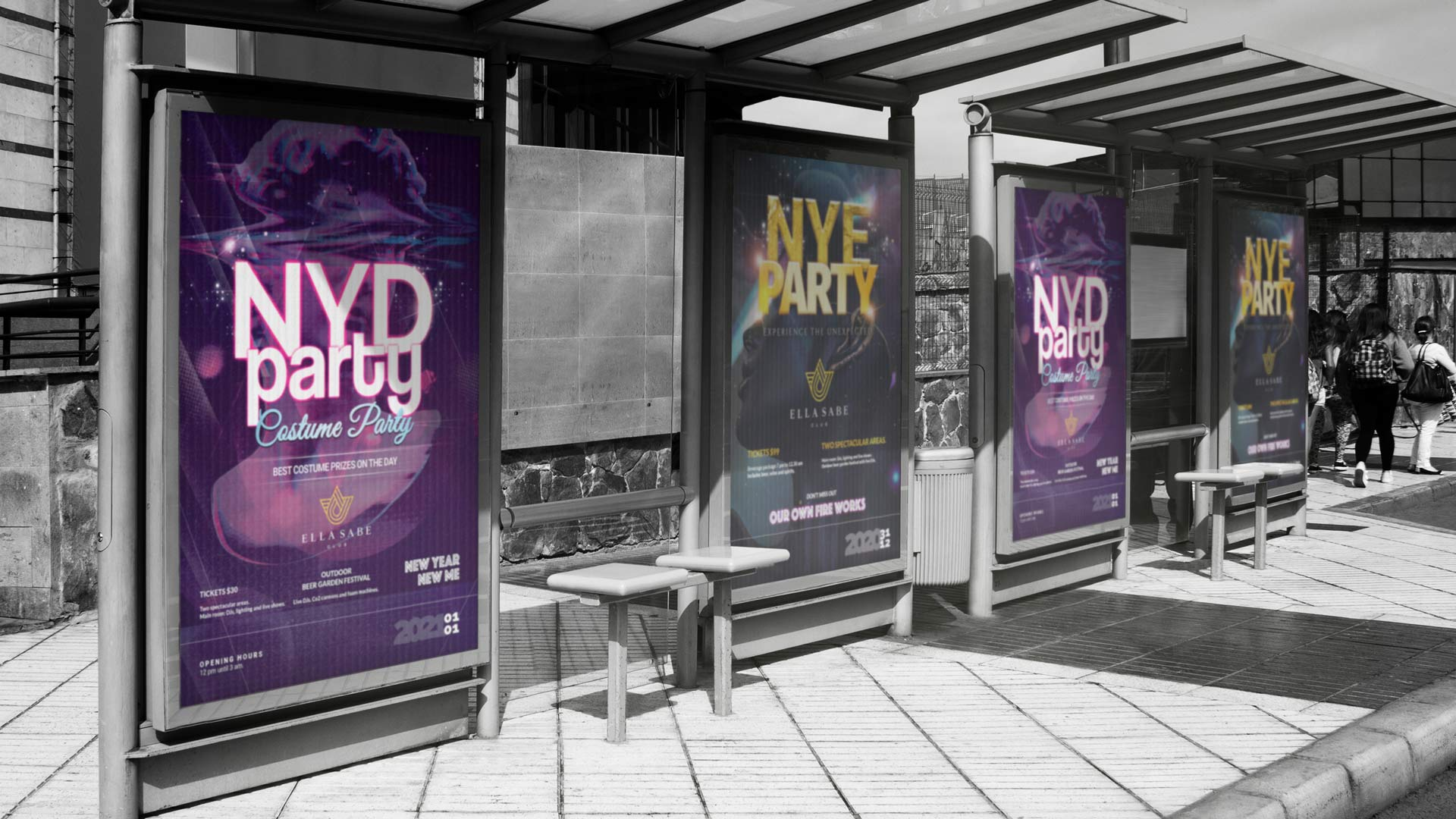 Poster advertisements designed by Ronin Marketing on display for Ella Sabe's Brisbane NYE event.