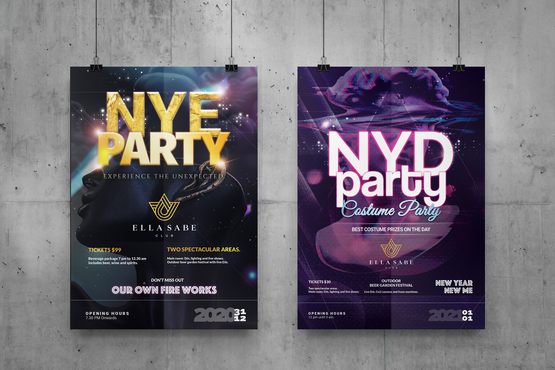 Poster designs created by Ronin Marketing's graphic designers to advertise Brisbane NYE event held by Ella Sabe.