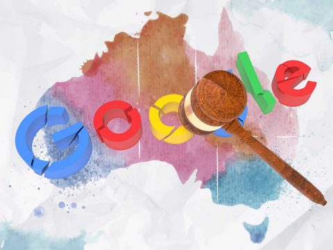 Broken Google logo under a gavel on map of Australia