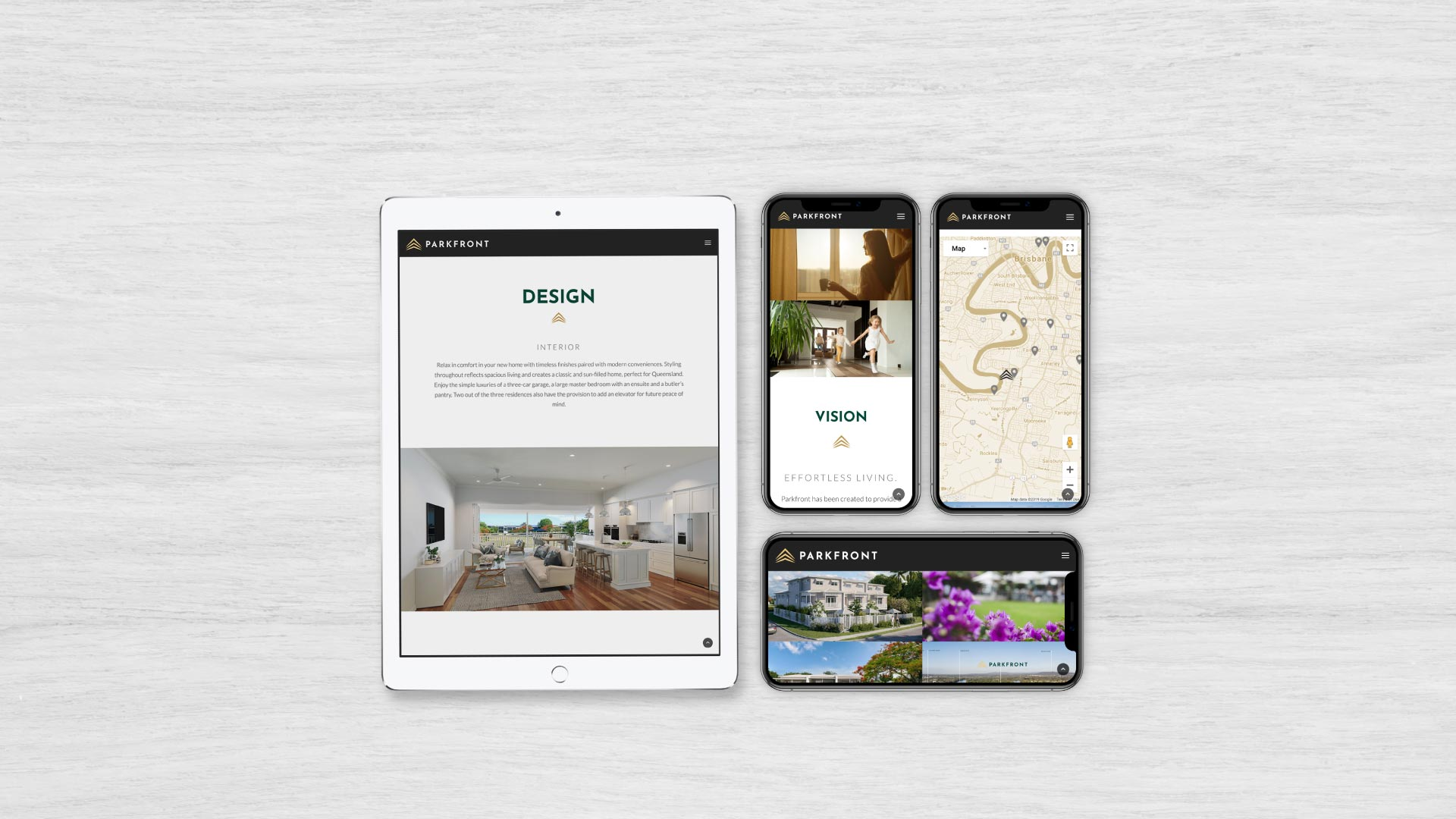 Ronin Marketing Created Lindona Parkfront Tablet and Smartphone Web Designs
